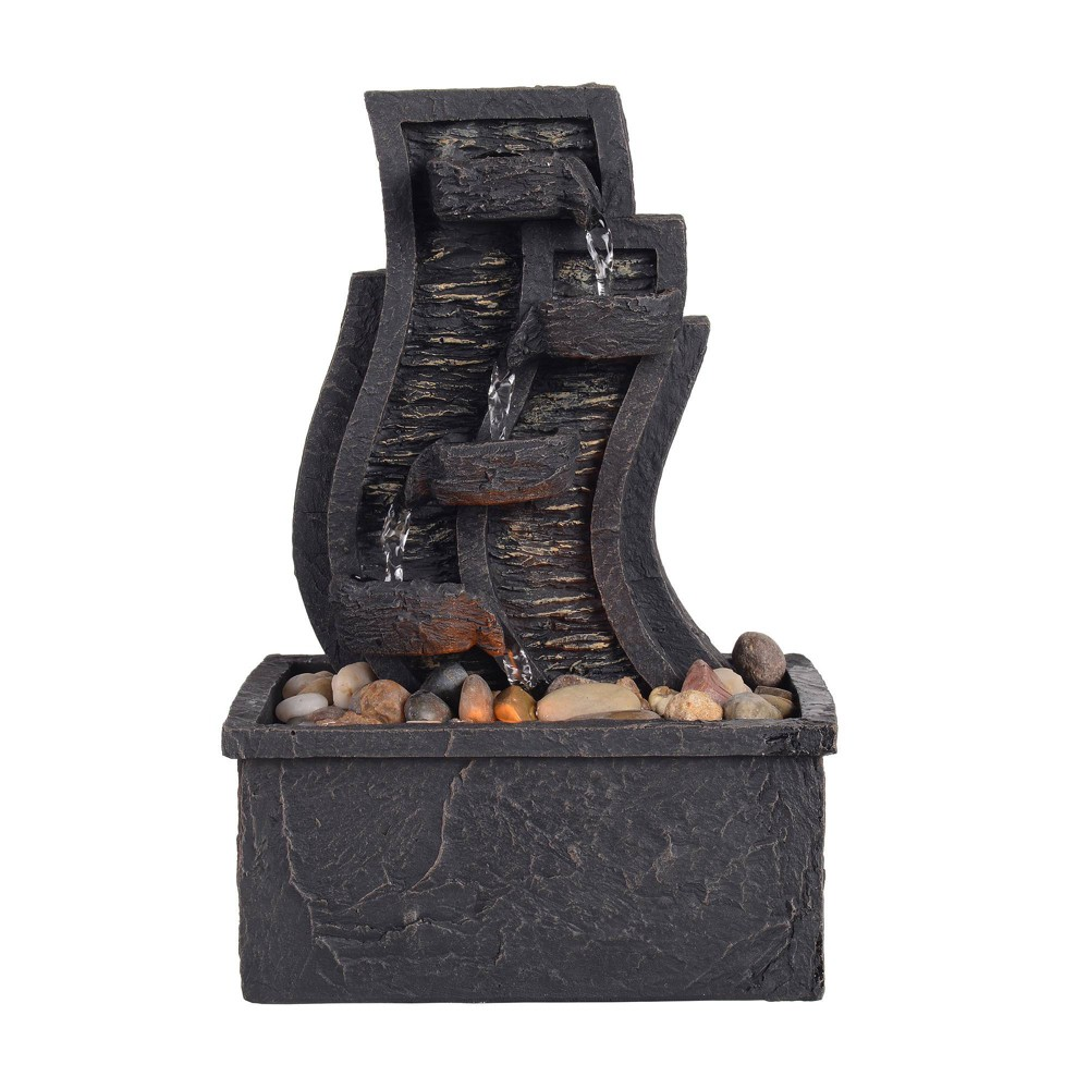 "Image of ""8.7"""" Tabletop Fountain with LED Light Charcoal Gray - Peaktop"""