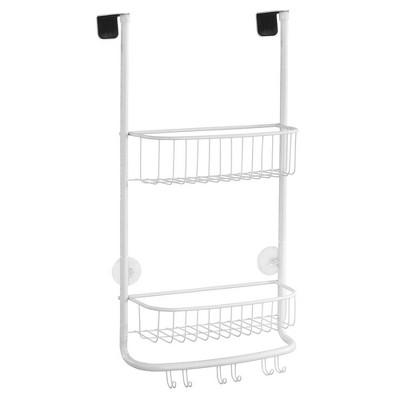 mDesign Modern Over the Door Metal Bathroom Tub/Shower Caddy