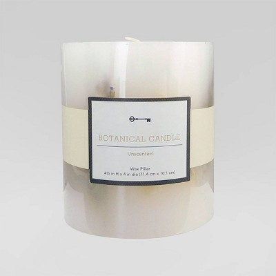 "4.5"" x 4"" Unscented Botanical Pillar Candle Cream Flowers - Threshold™"