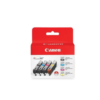 Canon 221 Black,C/M/Y 4pk Combo Ink Cartridges - Black, Cyan, Magenta, Yellow (2946B004)
