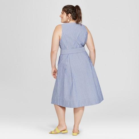 ca96bcaac4101 Women s Plus Size Striped Belted Waist Sundress - Ava   Viv™ Blue White    Target