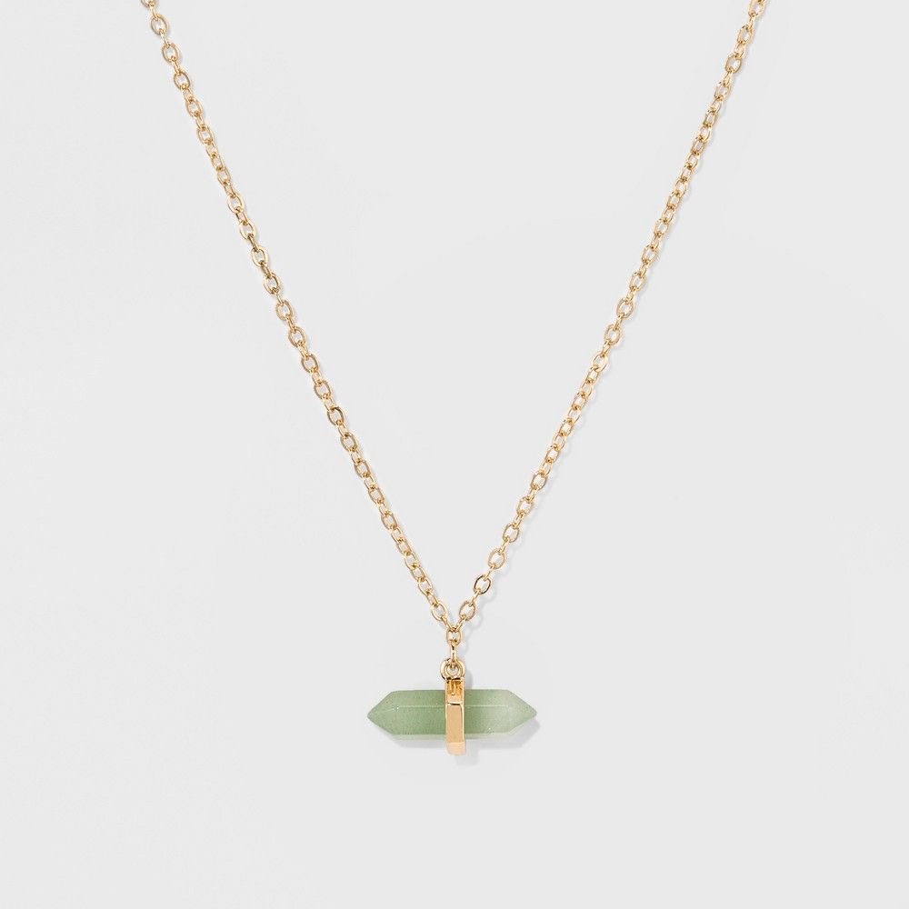 Women's Silver Plated Green Aventurine Genuine Stone Necklace - Gold (16+2)