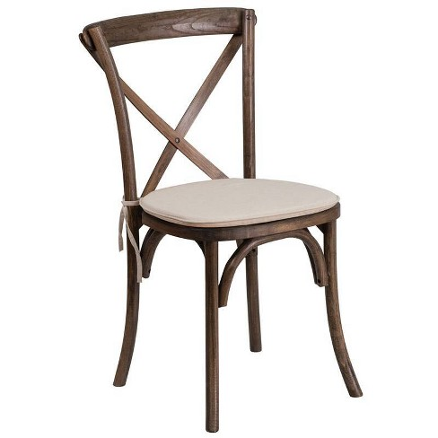 Hercules Series Stackable Wood Cross Back Chair with Cushion Early American - Riverstone Furniture Collection - image 1 of 1