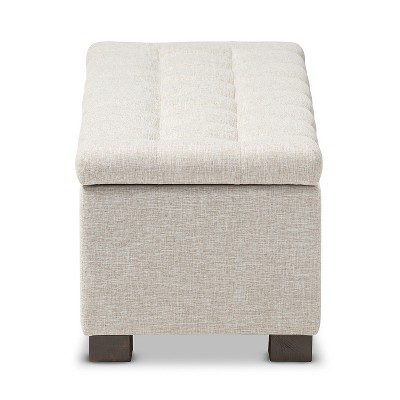 Roanoke Modern And Contemporary Fabric Upholstered Grid   Tufting Storage  Ottoman Bench   Baxton Studio