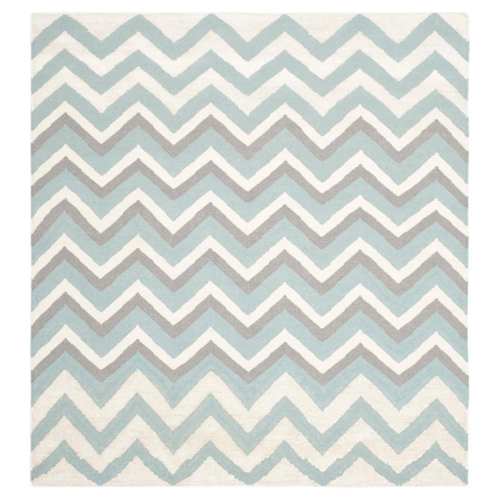 Gisele Dhurrie Area Rug - Blue / White (6' X 6') - Safavieh
