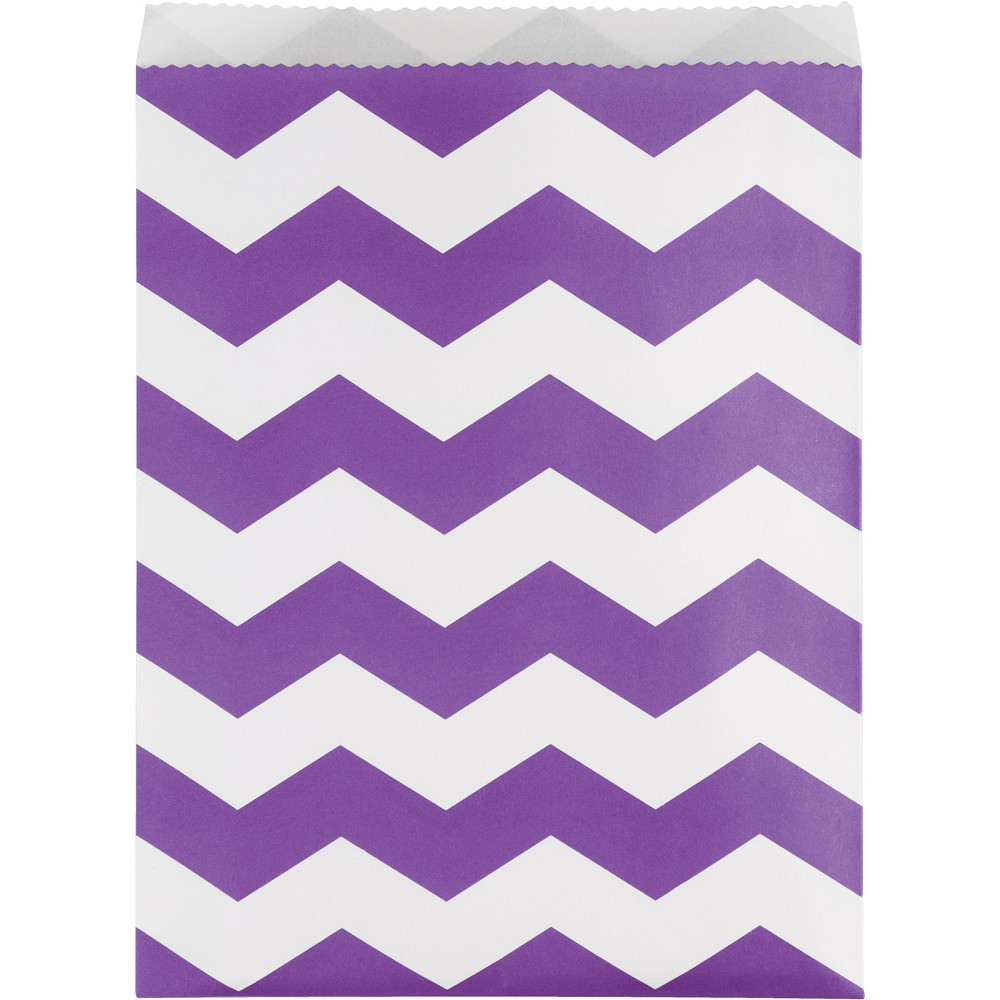 Image of 10ct Amethyst Chevron Stripe Treat Bags Purple