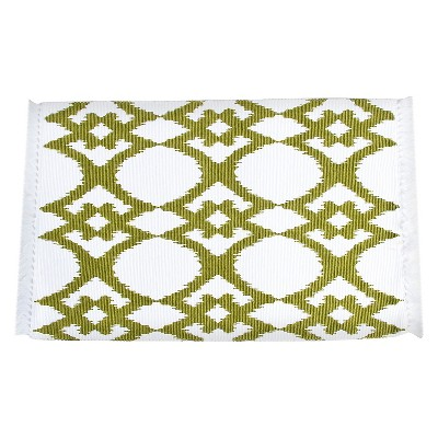 Ikat Design Ribbed Placemats Chartreuse (Set of 4)