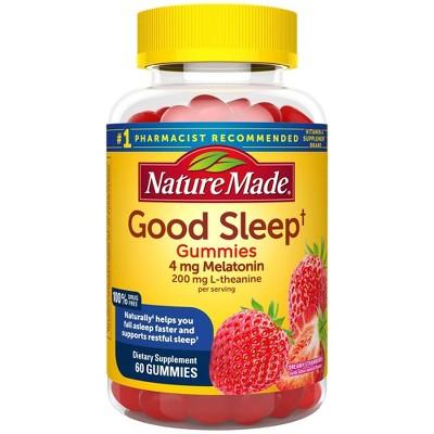Nature Made Good Sleep Gummies - Melatonin 4mg + L - Theanine 200mg - Dreamy Strawberry - 60ct