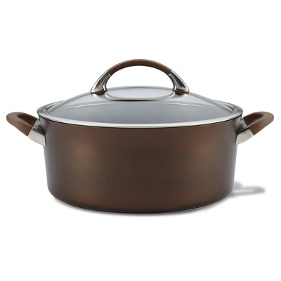 Circulon Symmetry 7qt Hard Anodized Nonstick Dutch Oven with Lid Chocolate Brown