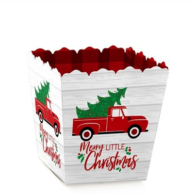 Big Dot of Happiness Merry Little Christmas Tree - Party Mini Favor Boxes - Red Truck Christmas Party Treat Candy Boxes - Set of 12