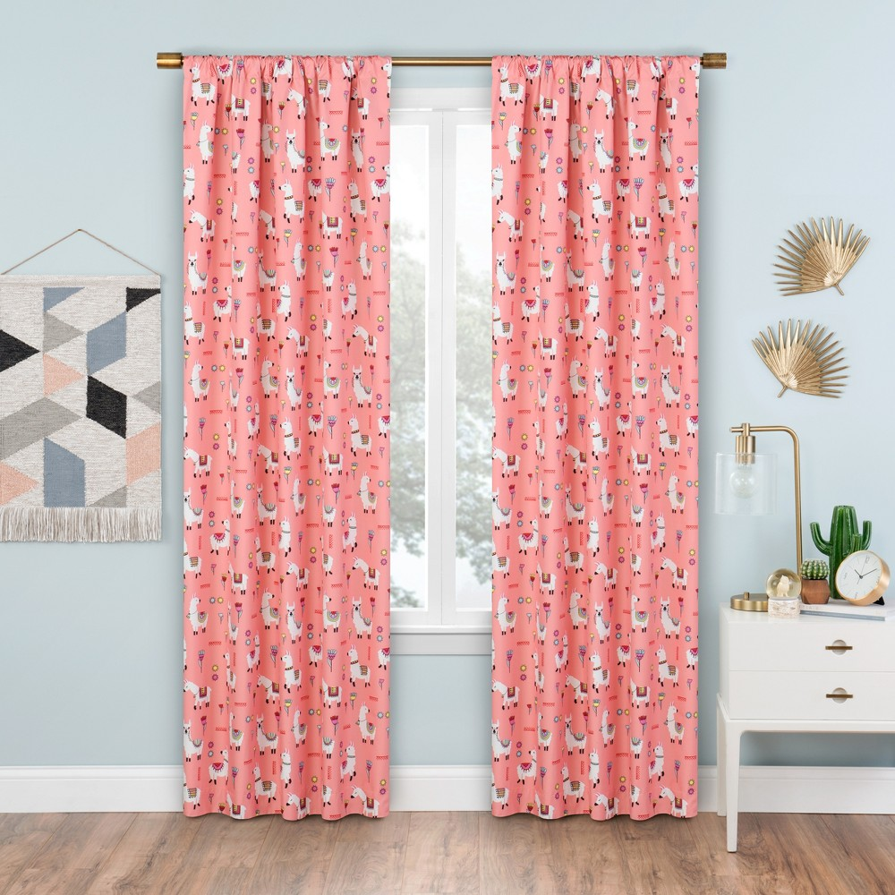 Llama Drama Thermaback Blackout Curtain Panels Coral 84 - Eclipse, Pink