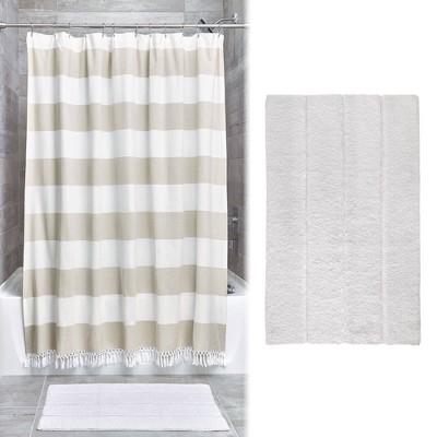 Wide Stripe Fringe Shower Curtain and Plush Rug Set Tan - iDESIGN