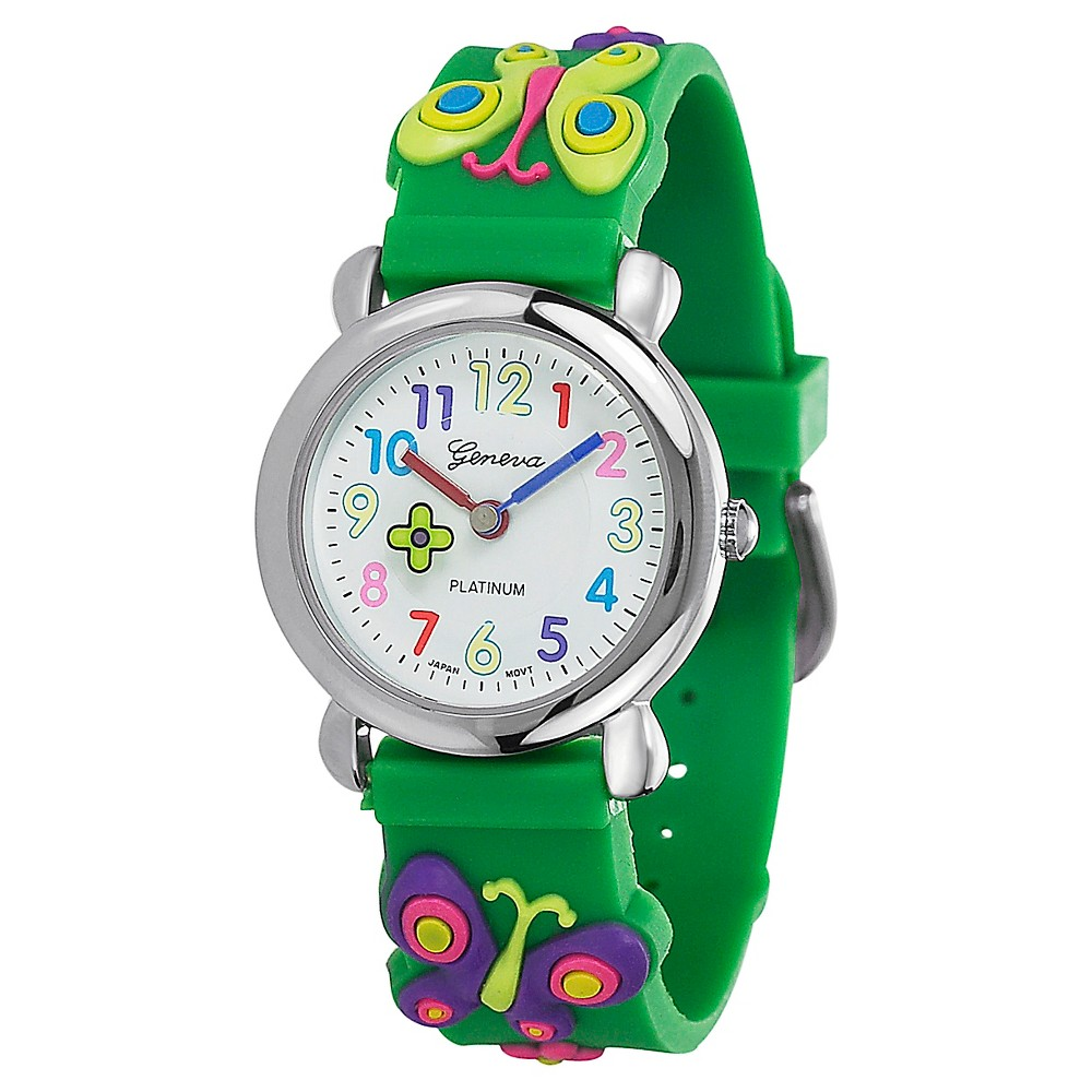 Kid's Geneva Platinum Butterfly Silicone Strap Watch - Green, Girl's