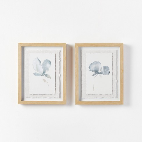 """(Set of 2) 11"""" x 14"""" Florals on Parchment Paper Framed Wall Arts - Threshold™ designed with Studio McGee - image 1 of 4"""