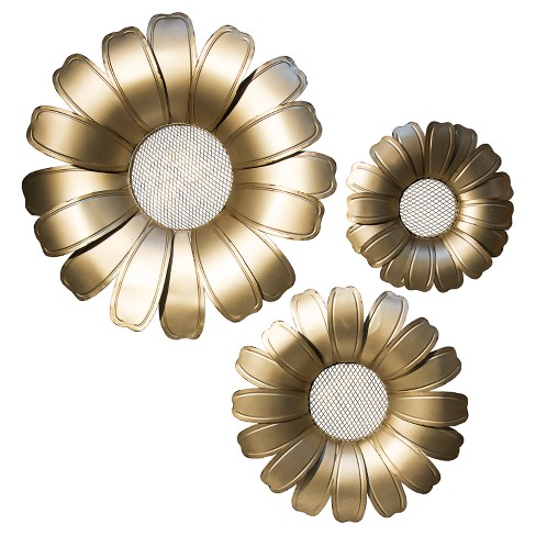 Flower Wall Décor Set 3pc Gold - VIP Home & Garden - image 1 of 2