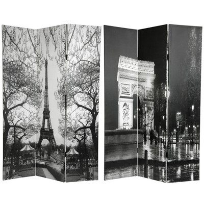 6' Tall Double Sided Paris Room Divider Eiffel Tower/Arc De Triomphe - Oriental Furniture
