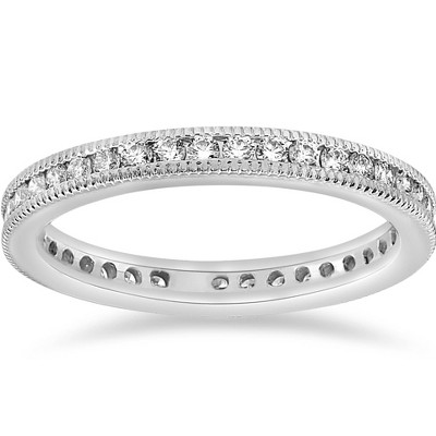 Pompeii3 .51 ct Diamond Stackable Wedding Eternity Ring Channel Set Milgrain 14K SZ 6