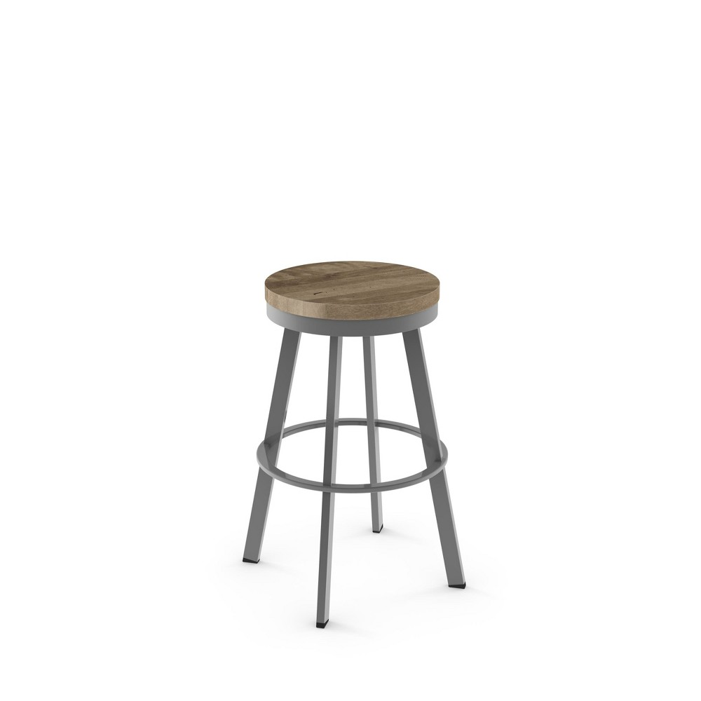 26 Amisco Warner Counter Stool with Beige Wood Seat Glossy Gray Metal, Beige & Glossy Gray Metal