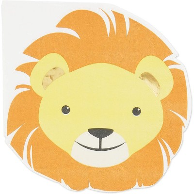 Blue Panda 50-Pack Lion Luncheon Napkins, Disposable Dinner Napkins for Safari Jungle Animal Theme Party, 6.5""