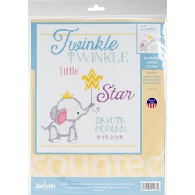 "Janlynn Counted Cross Stitch Kit 9""X12""-Twinkle Twinkle Little Star (14 Count)"
