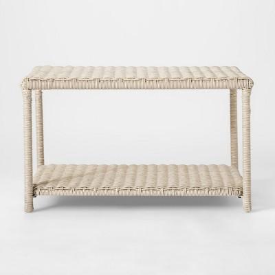 Monroe Wicker Patio Coffee Table White - Threshold™