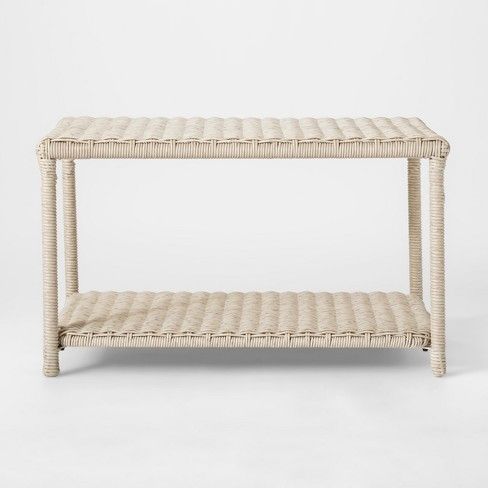 Monroe Wicker Patio Coffee Table White Threshold