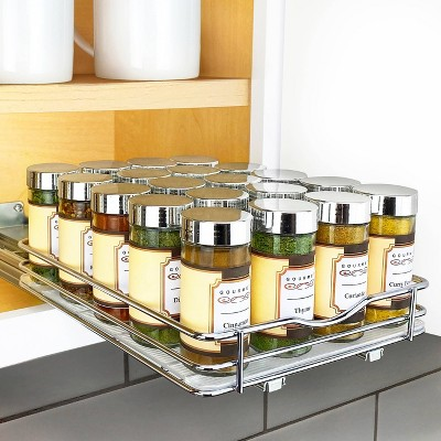 "Lynk Professional 8"" Wide Slide Out Spice Rack Upper Cabinet Organizer"