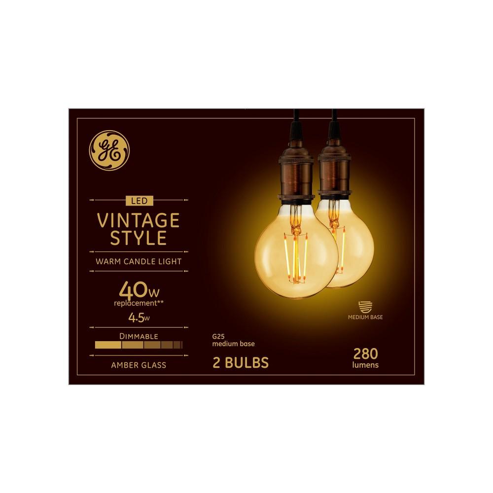 Vintage G25 Globe 40w Filament Amber 2pk Led Light Bulb White - General Electric