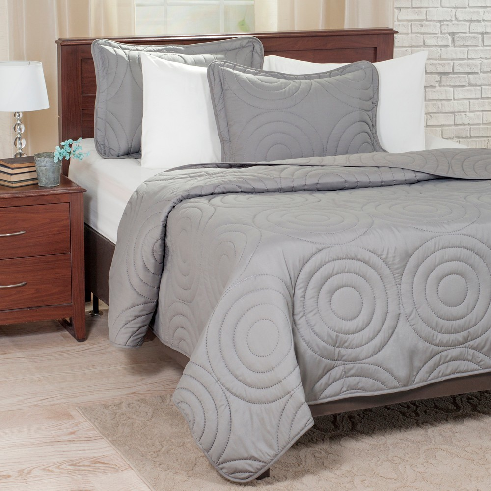 3pc King Solid Embossed Quilt Set Silver - Yorkshire Home