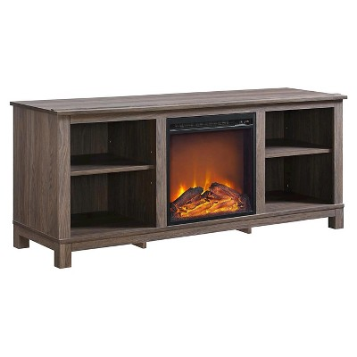 Brenner TV Console With Fireplace For TVs Up To 60  Distressed Brown Oak - Room & Joy