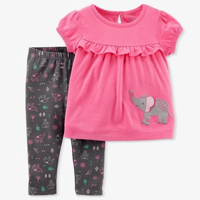 Baby Girls' Elephant 2pc Pants Set - Just One You® made by carter's Pink/Gray 6M