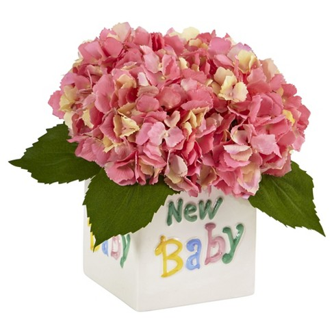 Hydrangea in Ceramic Container Pink - Nearly Natural - image 1 of 2