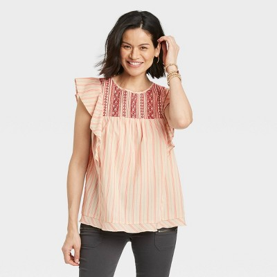 Women's Flutter Short Sleeve Embroidered Top - Knox Rose™