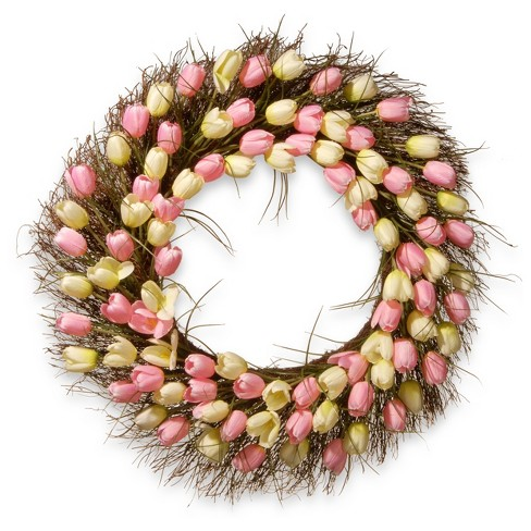 "Artificial Tulip Wreath Pink 32"" - National Tree Company® - image 1 of 1"