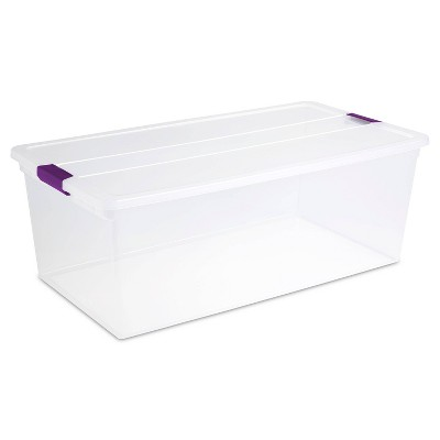 Sterilite 110qt Clear View Storage Bin with Latch Purple