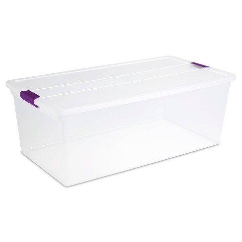 Sterilite 110qt Clear View Storage Bin with Latch Purple - image 1 of 4