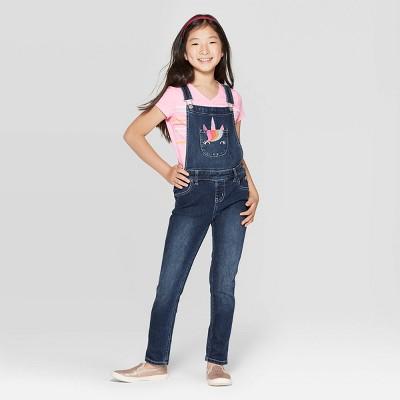 Girls' Embroidered Unicorn Jeans Overalls   Cat &Amp; Jack Dark Wash by Cat & Jack Dark Wash
