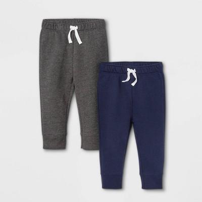 Baby Boys' 2pk Fleece Jogger Pull-On Pants - Cat & Jack™ Navy/Gray 6-9M