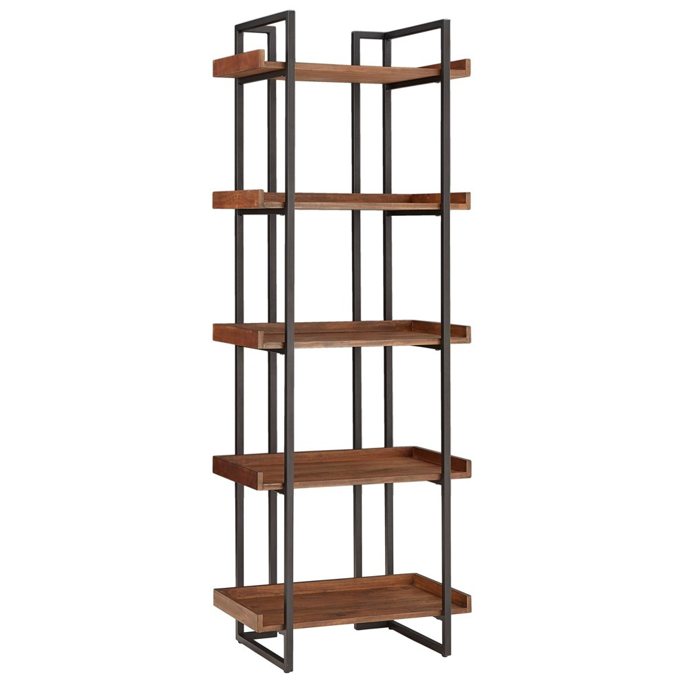 72 Felicia Rustic Industrial Metal/Wood Etagere Bookshelf Brown - Inspire Q