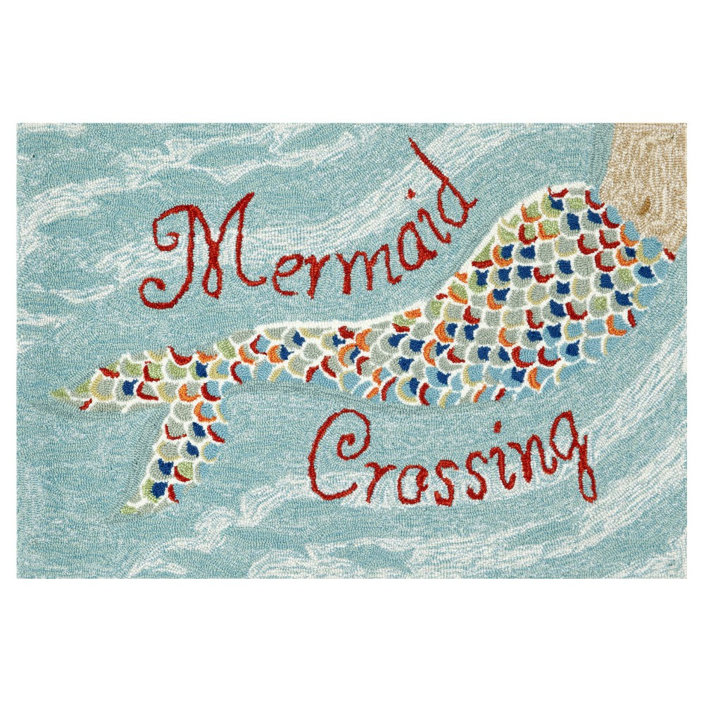 """Image of """"Frontporch Indoor/Outdoor Mermaid Crossing Water Rug 30""""""""X48"""""""" Blue - Liora Manne, Size: 2'6""""""""X4'/30""""""""X48"""""""""""""""