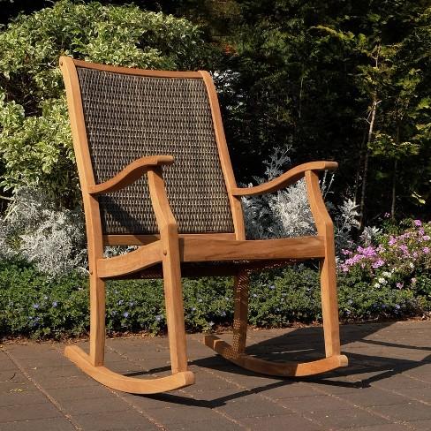 Dunham Solid Teak & Wicker Patio Rocking Chair - Cambridge Casual - image 1 of 4