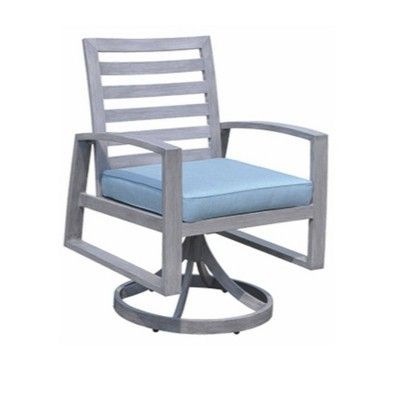 Cabo 2pk Aluminum Swivel Rocker Dining Chairs - Gray - Courtyard Casual