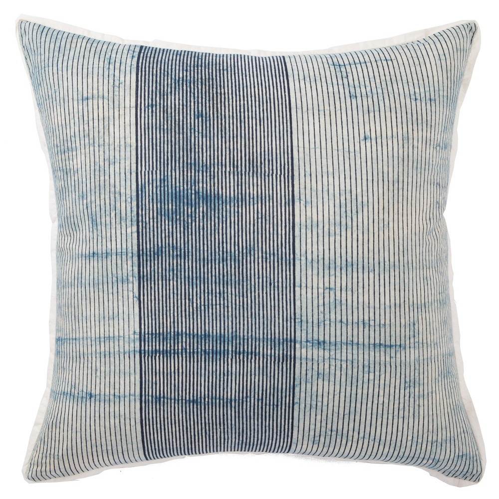 Image of Alicia Handmade Stripe Oversize Square Throw Pillow Blue - Jaipur Living, White Blue