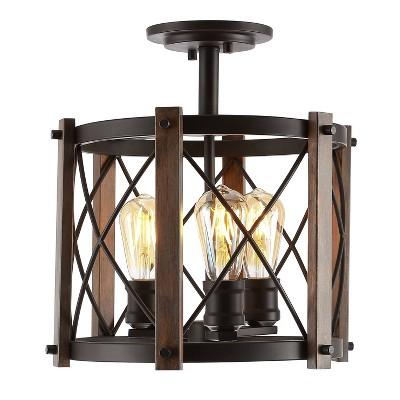 "14"" 3-Light LED Adjustable Iron Ferme Rustic Farmhouse Pendant Brown/Oil Rubbed Bronze - JONATHAN Y"