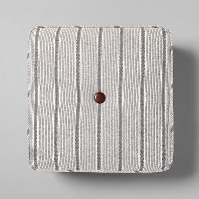 Ottoman Pouf Stripe Gray - Hearth & Hand™ with Magnolia
