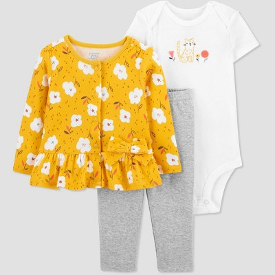 Baby Girls' 3pc Floral Top and Bottom Set with Cardigan - Just One You® made by carter's Yellow 9M