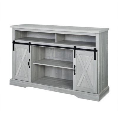 "52"" Sliding Barndoor Modern Farmhouse TV Highboy Storage Stand Slate Gray - Saracina Home"