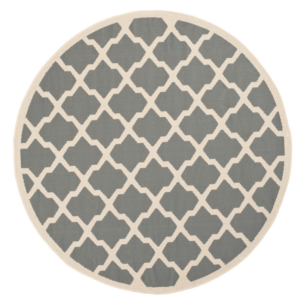 Malaga Round 7'10 Outer Patio Rug - Anthracite / Beige - Safavieh, Grey/Beige