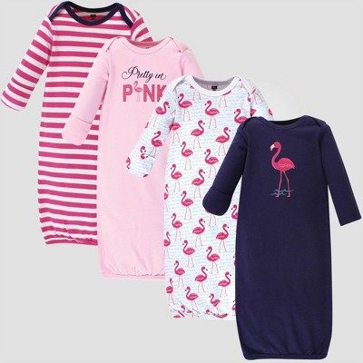 Hudson Baby Girls' 4pk Organic Cotton Bright Flamingo Nightgown - Pink/Blue 0-6M