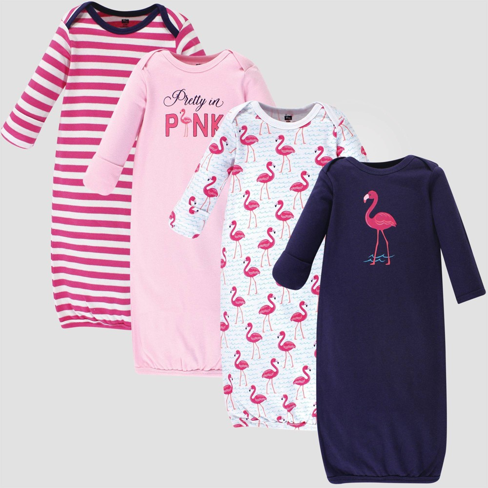 Image of Hudson Baby Girls' 4pk Organic Cotton Bright Flamingo Gown - Pink/Blue 0-6M, Kids Unisex, Size: Small